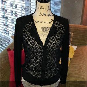 LOFT Black Lace Cardigan